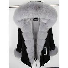 MaoMaoKong natural real fox fur Jacke coat <b>Real Fox Fur Collar</b> ...