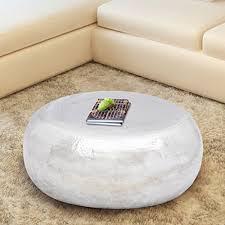 Anself <b>Hammered Aluminium Coffee Table</b> Side Table Stool Silver ...