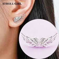 2019 <b>Strollgirl 925 Sterling Silver</b> Hollow Earrings Luxury Feather ...