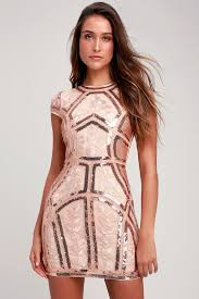 Sexy <b>Rose Gold Sequin Dress</b> - Embroidered Dress - Sequin Bodycon