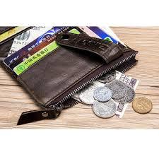 [Promo] Men Genuine Leather Retro Vintage Zipper Coin Wallet