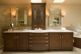 built bathroom vanity design ideas: its beautiful  breathtaking traditional meet contemporary huge vanity unit design ideas performing top display cabinets and arched drawers beneath also lilac white quartz top with built in double sink along with sil