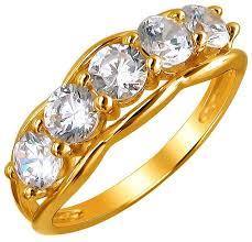 Купить Эстет <b>Кольцо с 5 фианитами</b> из жёлтого золота ...