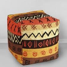 <b>Пуфик бескаркасный Кубик</b> Африка, мебельный хлопок - <b>MyPuff</b>