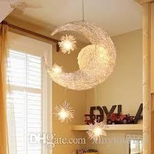 modern led pendant light living room kids bedroom pendant lamp aluminum stars moon hang lamp lustres children bedroom lighting