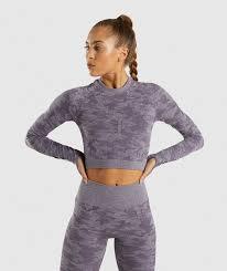 Gymshark <b>Camo Seamless</b> Long Sleeve Crop Top - Lavender Grey ...