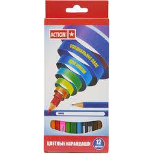 Карандаши <b>цветные Action</b> 12 шт, артикул: ACP220-12 - купить в ...