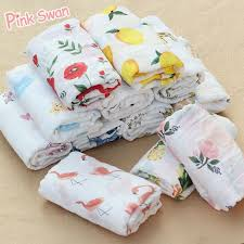 PINK SWAN <b>100</b>%<b>Cotton Flamingo Rose fruits</b> Print Muslin Baby ...