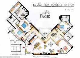 The apartment in The Big Bang Theory is America    s favorite TV home    View of Seattle  This floor plan depicts the inside of Dr Frasier Crane    s home on