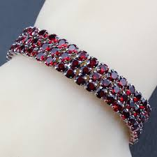 AAA+ Quality 925 Silver <b>Red Garnet</b> Link Chain <b>Bracelet</b> Length ...