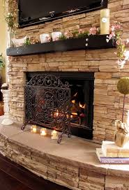 ravishing stacked stoned fireplace decoration combine harmonious limestone with brave firebox and powerful fire screen in brave professional office decorating ideas