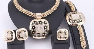 <b>Fashion African</b> Beads <b>Jewelry Set</b> Exquisite Dubai Gold Plated ...