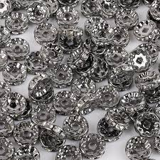 <b>50pcs</b> - Czech Crystal Rhinestone Rondelle, Gun Black Spacer Beads