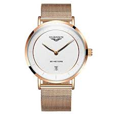 Buy <b>Guanqin Men Steel</b> Leather Band Analogue Quartz Wrist Watch ...