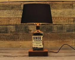 knob creek bourbon bottle table lamp authentic bourbon barrel char reclaimed wood base full sized table lamp whiskey bottle desk lamp authentic jim beam whiskey barrel table