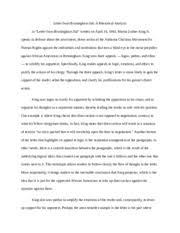 visual response essay    anti smoking advertisement a response three  pages rhetorical analysis letter from birmingham jail
