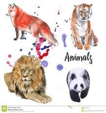 Animal wild set. tiger, a <b>lion</b>, a panda, a <b>fox</b>. on white background.