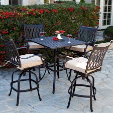 wicker bar height dining table: belham living palazetto cast aluminum bar height dining set at hayneedle