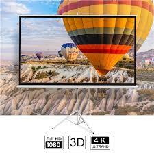 """<b>100</b>"""" <b>Projector</b> 16:9 <b>Projection</b> Screen HD Adjustable Tripod Manual ..."""