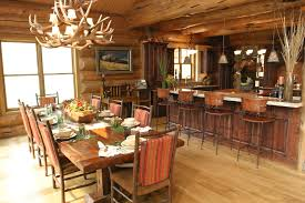 big log cabin dining room rustic interesting ideas with island lighting open kitchen cabin lighting ideas