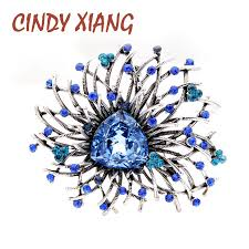 <b>CINDY XIANG 2 Colors</b> Avaiable Shining Crystal Flower Brooches ...