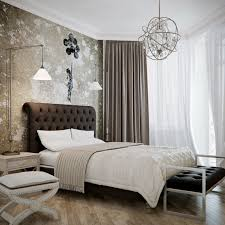 modest small bedroom design featuring cool wallpaper and glass chandelier over single bed with brown tufted bedroomcool black white bedroom design