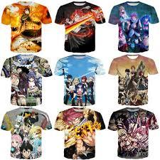 <b>New</b> Women Men <b>Fairy</b> Tail Anime Print <b>Casual</b> 3D T-Shirt Short ...