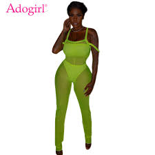 Adogirl 2019 Trendy Solid Fluorescent Sheer <b>Mesh Jumpsuit</b> with ...