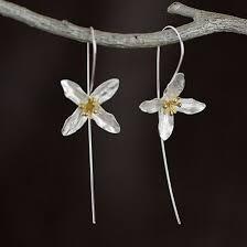 Купить 925 серебряные цветы <b>длинные серьги</b> для женщин ...