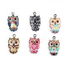 <b>6pcs</b> Mixed Color <b>Enamel</b> Owl <b>Charms</b> DIY Crafts Necklace <b>Jewelry</b> ...