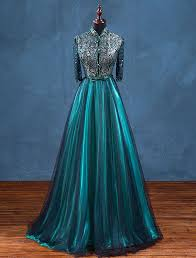 Vintage <b>High Neck</b> Evening Dress Beadding Sequins With Lace ...