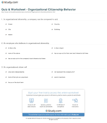 quiz worksheet organizational citizenship behavior com print organizational citizenship behavior in the workplace definition and examples worksheet