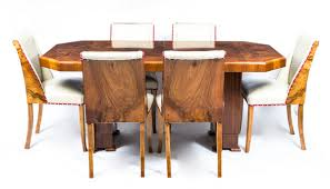 antique art deco burr walnut dining table 6 chairs c1930 art deco dining 6