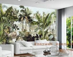 Southeast <b>Asian Style</b> Green Tropical Plants Wallpaper Mural ...