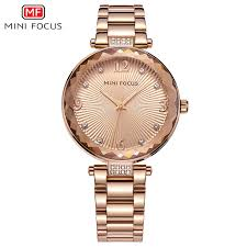 MINI FOCUS <b>Ladies Watches Top Brand</b> Luxury Rose Gold Quartz ...