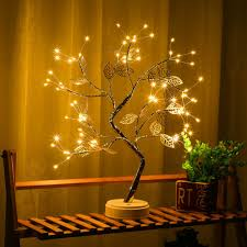 tree lamp <b>LED</b> warm light <b>gold leaf copper</b> wire tree lamp small table ...