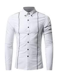 <b>Men</b> Contrasting Stitches Slim <b>Solid</b> Long Sleeves Shirt Sale, Price ...