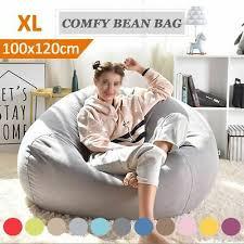 Seat Bean Bag <b>Sofa Chair</b> Cover Pouf <b>Puff</b> Couch Tatami Linen ...