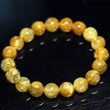 <b>Natural</b> Genuine Clear Yellow <b>Gold</b> Hair <b>Rutile</b> Quartz Stretch Men's ...