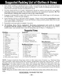 packing list for french woods camp what to pack packing list