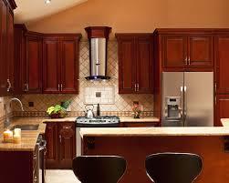 kitchen with cherry cabinets brown wooden cherry kitchen cabinet with white tiles backsplash
