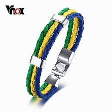 <b>Stylish</b> Brazil Russia USA National Flag <b>Rope Braided Leather</b> Wrap ...