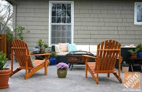 patio with large outdoor sofa adirondack chairs and a firepit awesome home depot patio