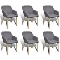 vidaXL <b>Oak Indoor Fabric Dining</b> Chair Set 6 pcs with... - Rewardia