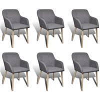 vidaXL <b>Oak Indoor Fabric Dining</b> Chair Set 6 pcs with... - Rewardia