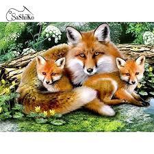 <b>5D Diamond</b> Painting <b>Fox</b> Family Stitch – Inlovearts