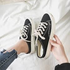 <b>2018 new summer</b> open <b>canvas</b> shoes female half drag no heel lazy ...