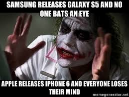 SAMSUNG RELEASES GALAXY S5 AND NO ONE BATS AN EYE APPLE RELEASES ... via Relatably.com