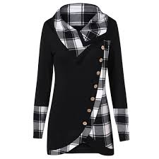 <b>Womens Tops And Blouses</b> Vintage Button Plaid Long Sleeve ...