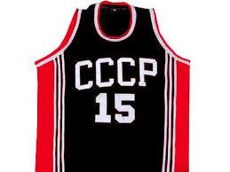 arvydas sabonis <b>cccp</b> team russia basketball jersey <b>black</b> sewn <b>new</b> ...